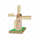 agriculture, cartoon, decoration, dutch, mill, old, tower icon