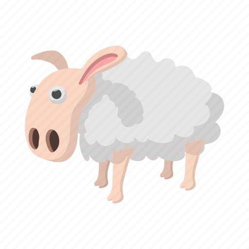 cartoon, cute, isolated on white, looking away, nobody, sheep, side view icon