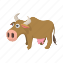 animal, cartoon, cow, domestic, mammal, milk, view icon