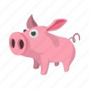 agriculture, animal, cartoon, cute, farm, pig, piglet icon