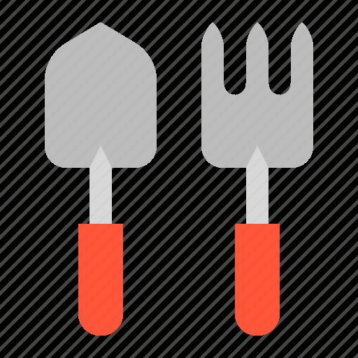 Farm, equipment, agricultural equipment, hand fork, trowel icon