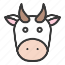 animal, cow, cow face, farming icon