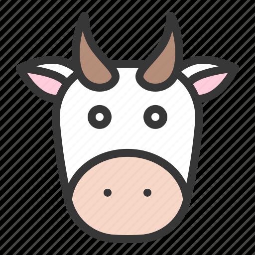 animal, cow, cow face, farming icon