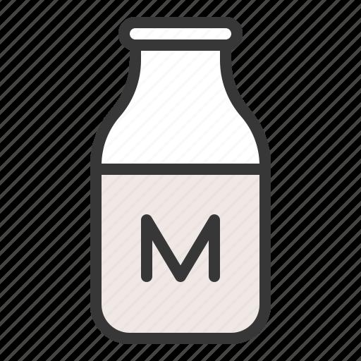 bottle, dairy product, drink, farming, milk, milk bottle icon