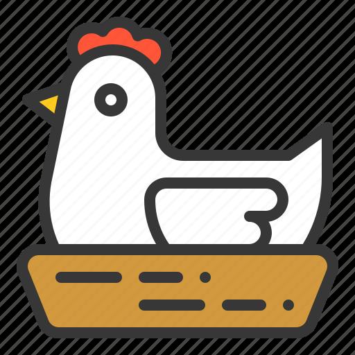 farming, hatch, hatching, hen, hen's nest icon