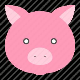 animal, farm, pig, pig face icon