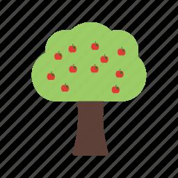 food, fruit, green, healthy, orange, peach, tree icon