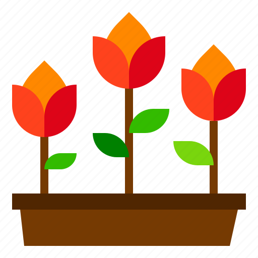 flowers, pot, rose icon