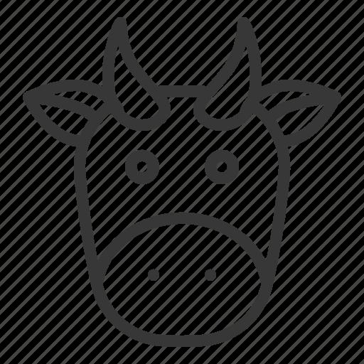 animal, cow, cow face, fariming, farm icon