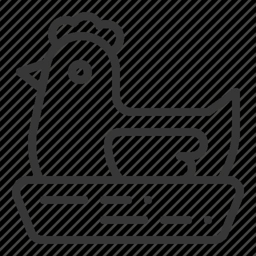 fariming, hatch, hatching, hen, hen' nest icon