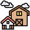 barn, building, farm, home, house icon