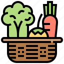 basket, food, healthy, vegetable, vitamin icon