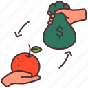 agriculture, business, farming, market, money, orange, sell icon