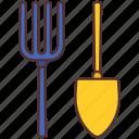 agriculture, equipment, farming, fork, gardening, shovel, tool