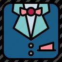 fashion, men, suit, uniform icon