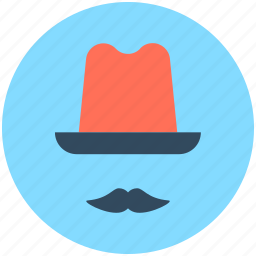 costume, hipster, moustache, party props, top hat icon
