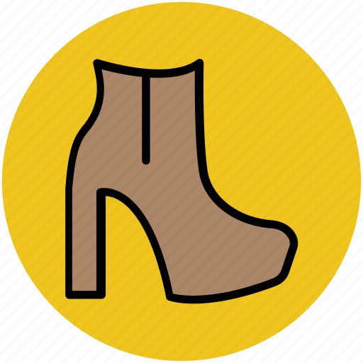 ankle boot, boot, footwear, heel boot, long boot, woman shoes icon