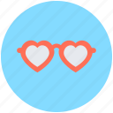 eyeglass, heart glasses, shades, spectacles, sunglasses icon