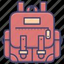 backpack, bag, bookbag, leather icon