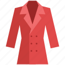 clothing, coat, dress coat, fashion, long coat, winter clothing icon