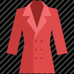 clothing, coat, dress coat, fashion, long coat, winter clothing icon