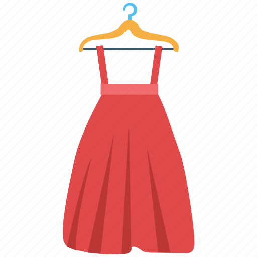 clothing, garments, hanger dress, long skirt, women dress icon