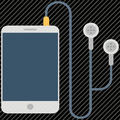 earphone, earspeaker, ipad, music listening, music player, smartphone icon