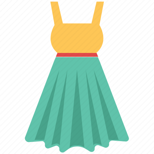 fashion, garment, swing dress, women clothing, women dress, women frock icon