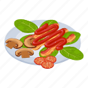 appetizer, isometric, object, sign icon
