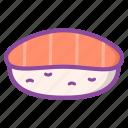 sushi, rice, salmon, shrimp