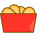 chicken, chicken nuggets, fast, food, food icon, nuggets, package icon