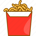 box, cartoon, fast, food, line, noodles, package icon