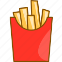 burger and fries, cheeseburger and fries, cream, fries, package, potato, restaurant icon