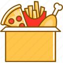 box, chicken, combo, fries, nuggets, package, pizza icon