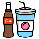 beverages, coke, cola, drink, soda, soft icon