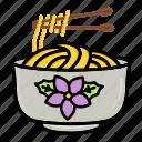 bowl, chopstick, fast, food, noodle, pasta, spaghetti icon