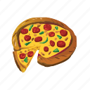 cheese, fast food, italian, meal, pepperoni, pizza, takeaways icon