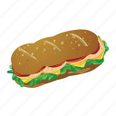 footlong, lunch, picnic, sandwhich, subway icon