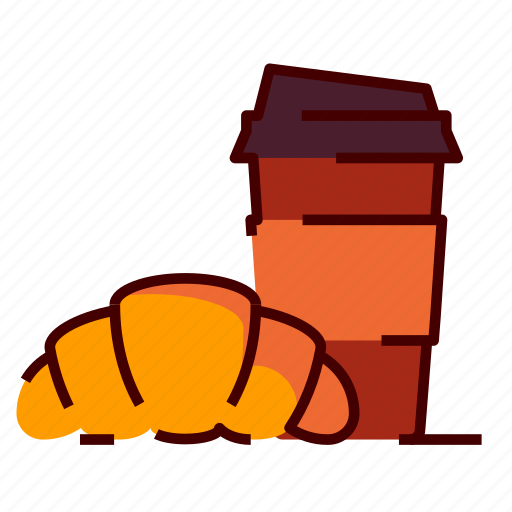 breakfast, cafe, coffee, croissant, tea icon
