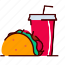 burrito, cola, drink, fastfood, mexican, taco