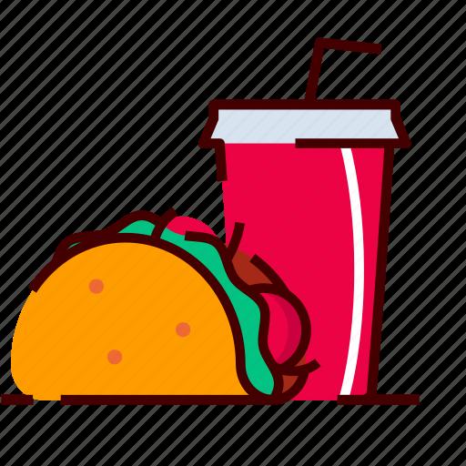 burrito, cola, drink, fastfood, mexican, taco icon