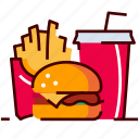 burger, drink, fastfood, fries, menu icon