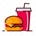 burger, drink, fastfood, menu icon