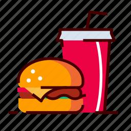 burger, drink, fastfood, menu icon