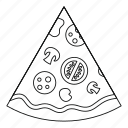 food, line, lunch, outline, pizza, slice, thin icon