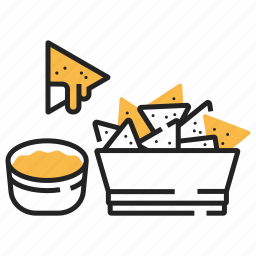 appetizer, fast food, food, mexican, nacho, salsa, tortilla icon