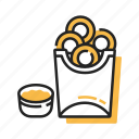 crispy, fast food, food, fried, onion, onion ring, snack icon