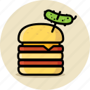 burger, cheeseburger, double, fast food, hamburger, junk food, pickle icon