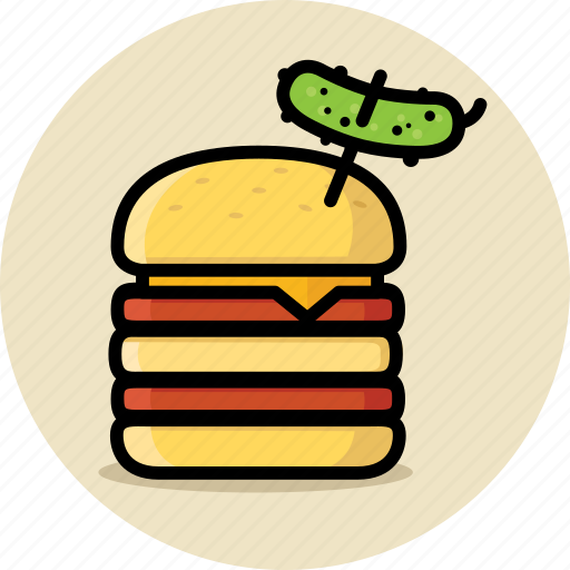 burger, cheeseburger, double, fast food, hamburger, junk food, pickle icon
