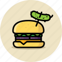 burger, cheeseburger, fast food, hamburger, junk food, pickle icon